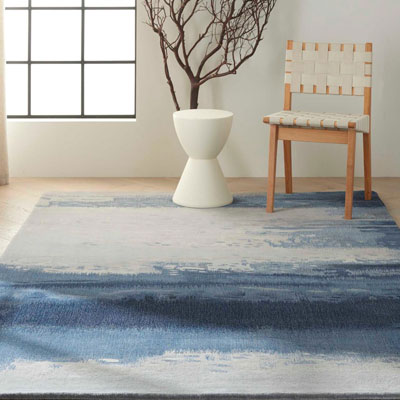 blue pattern area rug