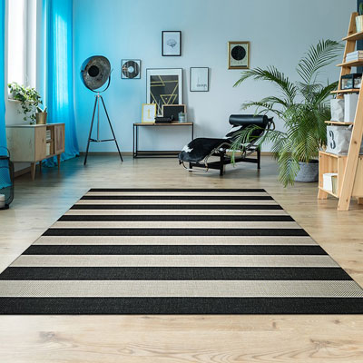 black and tan stripped area rug