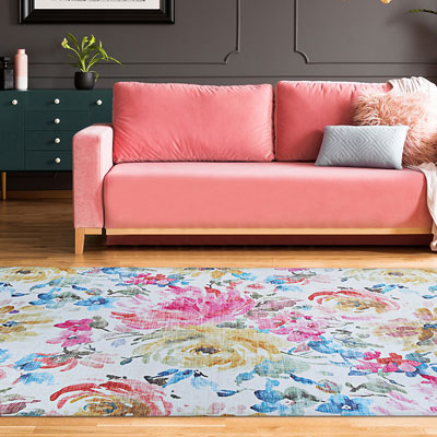 blue and pink floral area rug