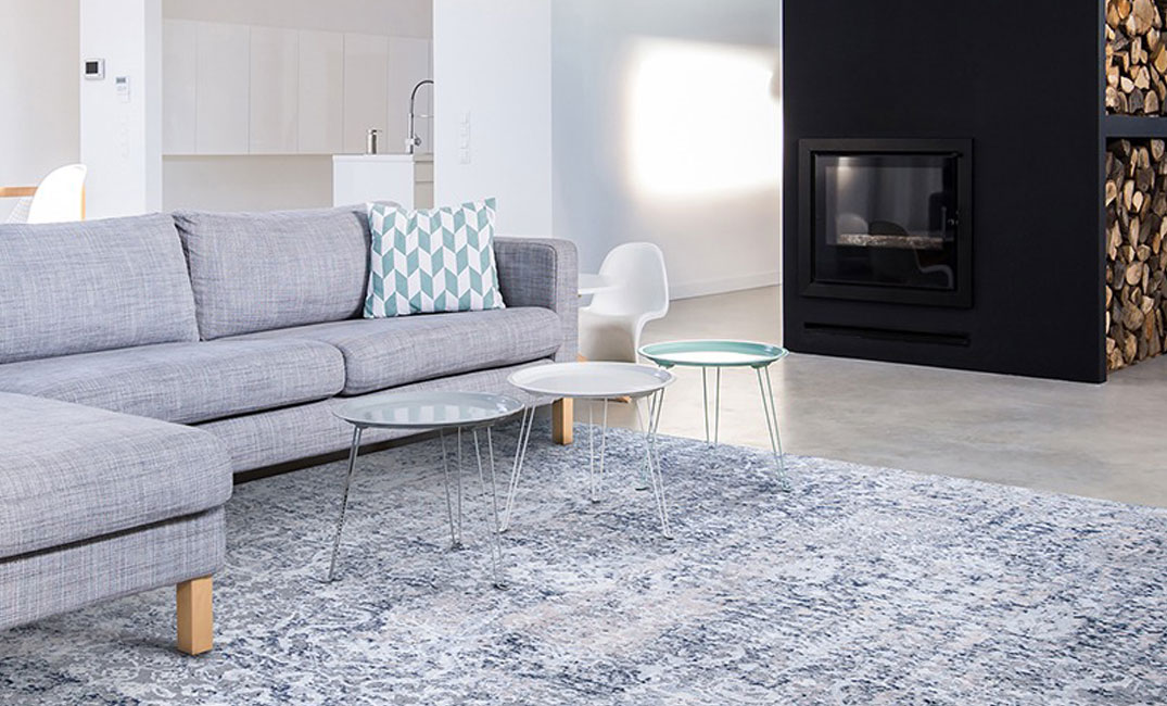 blue pattern area rug in living room